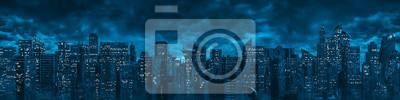 Sticker Science fiction city night panorama / 3D illustration of dark futuristic sci-fi city under dark cloudy night sky