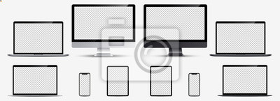 Sticker Screen mockup. Smartphone, tablet, laptop and monoblock monitor silver and black color with blank screen for you design. Vector illustration Ai 10