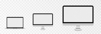 Sticker Screen vector mockup. Mockup of laptop, monitor with blank screen. PNG.