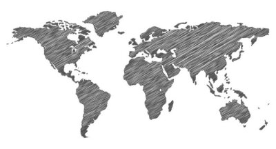 Sticker Scribble Carte du monde