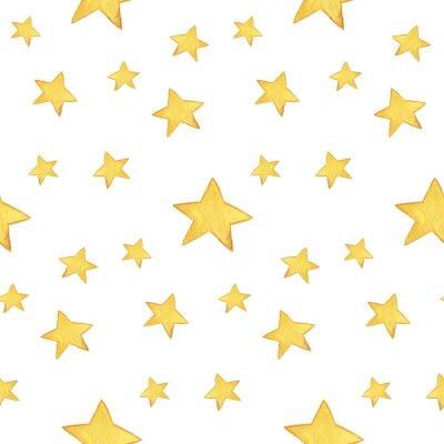Sticker Seamless, aquarelle, modèle: Joyeux, noël, jaune, étoiles