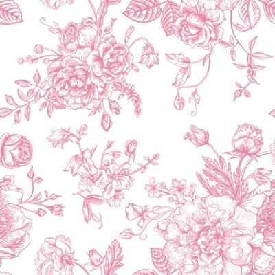 Sticker Seamless avec bouquet de fleurs.