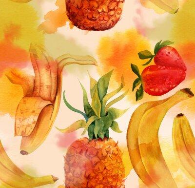 Sticker Seamless avec des bananes, les fraises et lumineuses un ananas