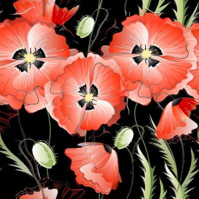 Sticker Seamless avec des fleurs de coquelicot