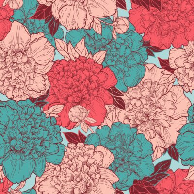 Sticker Seamless  background with peonies