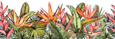 Sticker Seamless border with tropical palm leaves, exotic heliconia and strelitzia flowers.