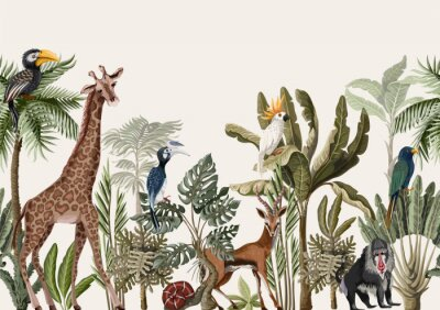 Sticker Seamless border with tropical tree such as palm, banana and jungle animals. Vector.