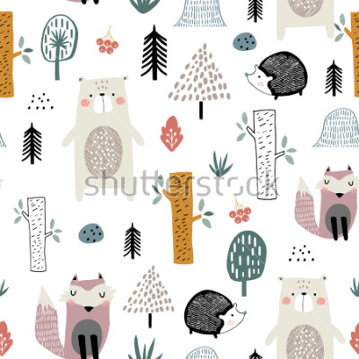 Sticker Seamless childish pattern with cute bear, fox, hedgehogs in the wood. Creative kids scandinavian style texture for fabric, wrapping, textile, wallpaper, apparel. Vector illustration