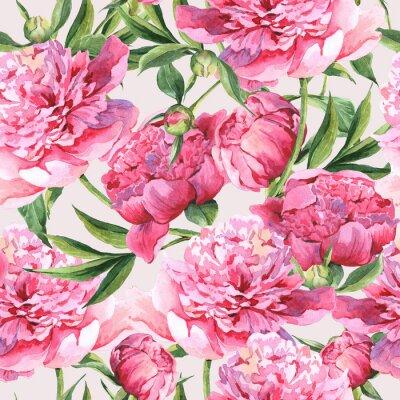 Sticker Seamless d'aquarelle avec des pivoines roses