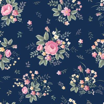 Sticker Seamless, floral, modèle, rose, bouquet, ondark, bleu, fond