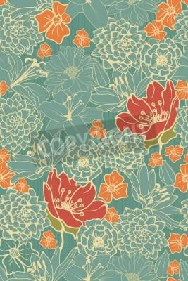 Sticker Seamless, floral, modèle, rouges, fleurs, monocrom, fond
