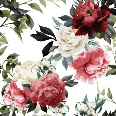 Sticker Seamless floral pattern avec des roses, aquarelle. Vector illustrat