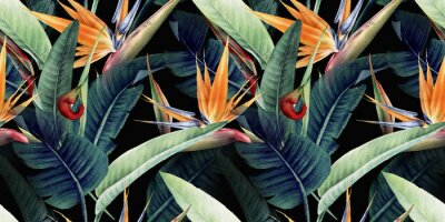 Sticker Seamless floral pattern with tropical leaves and strelitzia on red background. Template design for textiles, interior, clothes, wallpaper. Watercolor illustration