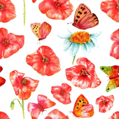 Sticker Seamless, fond, texture, vibrant, rouge, aquarelle, pavots