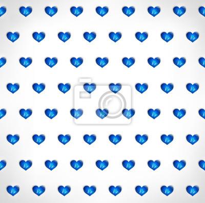 Seamless géométrique polygonale bleu cœur fond