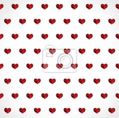 Seamless géométrique polygonale rouge coeurs fond