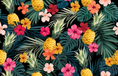 Sticker Seamless hand drawn tropical vector pattern with exotic palm leaves, hibiscus flowers, pineapples and various plants on dark background.