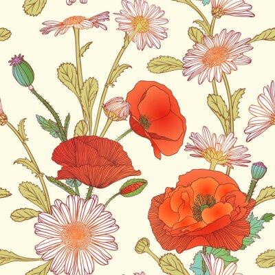 Sticker Seamless, modèle, camomille, pavot, fleurs