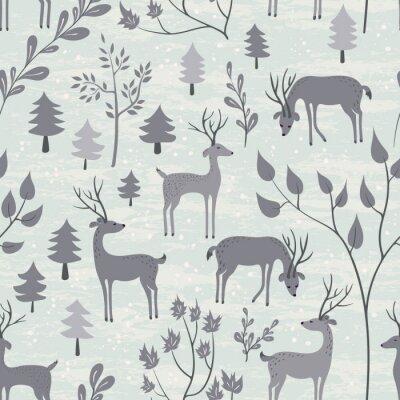 Sticker Seamless, modèle, cerfs, hiver, forêt