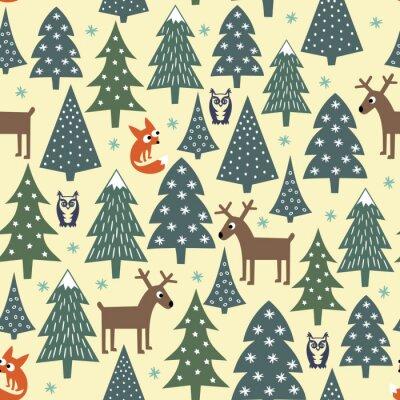 Sticker Seamless modèle de Noël - variés arbres de Noël, maisons, renards, hiboux et daims. Bonne année de fond. Conception vectorielle pour les vacances d'hiver. Enfant, dessin, style, nature, forêt, Illustr