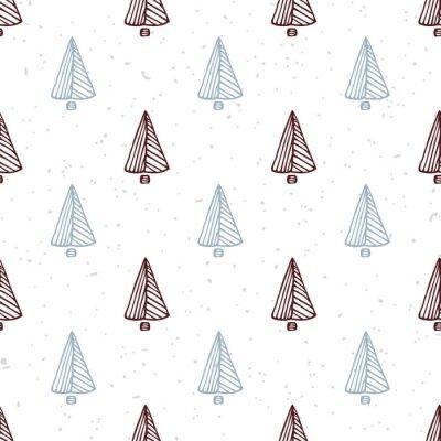 Sticker Seamless, modèle, main, dessiné, noël, arbre Fond de vacances Doodle