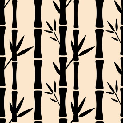 Sticker Seamless, modèle, noir, silhouettes, bambou, Arbres