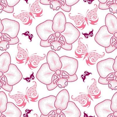 Sticker Seamless, modèle, rose, pointillé, moth, orchidée, ou, Phalaenopsis, orné, papillons, blanc, fond Fond floral dans le style de pointwork.