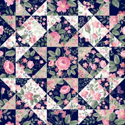 Sticker Seamless, patchwork, modèle, roses