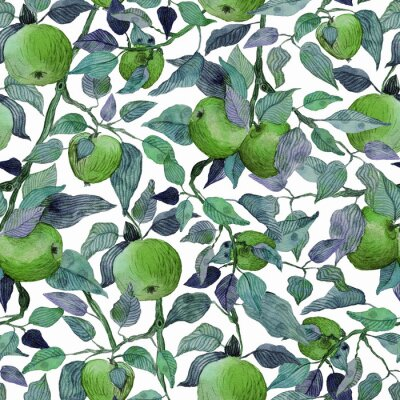 Sticker seamless pattern apple tree branch with green apples watercolor stylized illustration