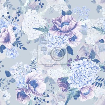 Seamless pattern. Hortensia Aquarelle, coquelicots, de cassis. Illustration de fleurs. Vintage. Peut être utilisé pour le papier d'emballage cadeau.