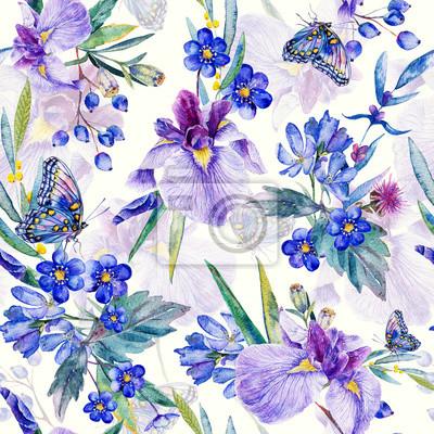 Seamless pattern. Iris Aquarelle, feuilles, papillon.