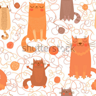 Sticker Seamless pattern with cute cats and balls of yarn. Vector illustration.