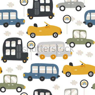 Sticker Seamless pattern with funny cars. Fashion kids print. Vector hand drawn illustration.