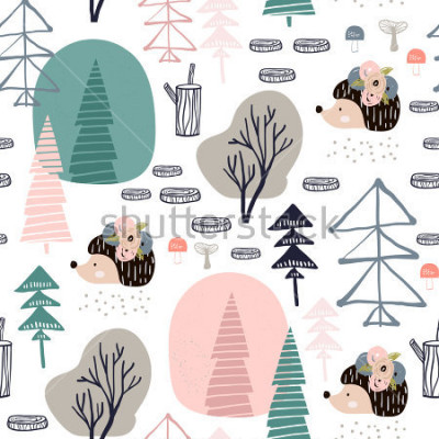 Sticker Seamless pattern with hedgehog, forest elements. Creative woodland height detailed background. Perfect for kids apparel,fabric, textile, nursery decoration,wrapping paper.Vector Illustration