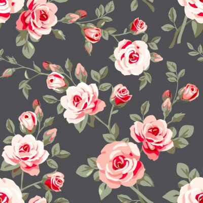 Sticker Seamless pattern with pink roses