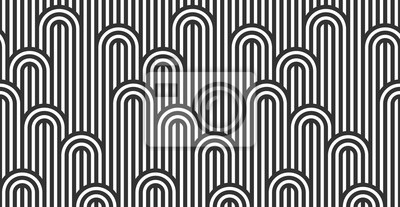 Sticker Seamless pattern with twisted lines, vector linear tiling background, stripy weaving, optical maze, twisted stripes. Black and white design.