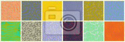 Sticker Seamless patterns, abstract organic lines color backgrounds set. Biological patterns with yellow, purple and blue memphis dots, irregular squiggle lines and abstract shape texture
