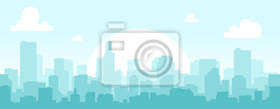 Sticker Seamless silhouette of the city. Cityscape with buildings. Simple blue background. Urban landscape. Beautiful template. Modern city with layers. Flat style vector illustration.