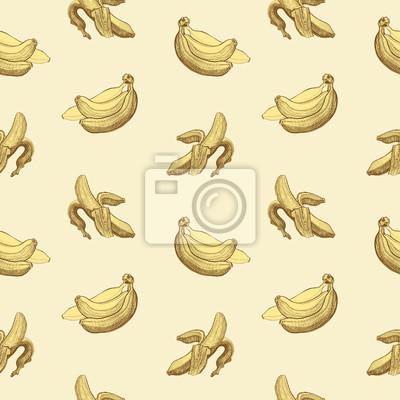 Seamless wallpaper pattern avec le dessin des bananes de gravure.