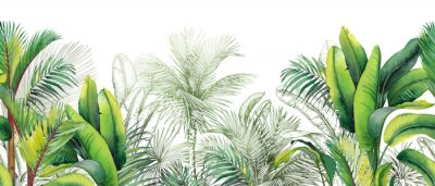 Sticker Seamless watercolor border with green tropical foliage.