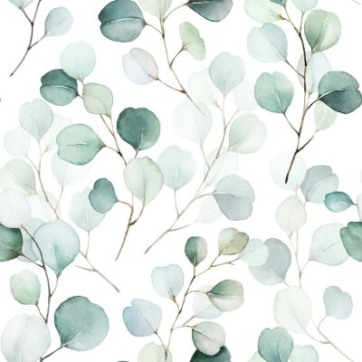 Sticker Seamless watercolor floral pattern - green leaves and branches composition on white background, perfect for wrappers, wallpapers, postcards, greeting cards, wedding invitations, romantic events.
