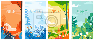 Sticker Seasonal vertical banners for social media stories wallpaper - autumn, winter, spring and summer landscapes