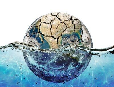 Sticker Séché planète immergé dans les eaux de l'océan mondial