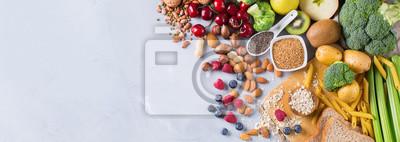Sticker Sélection de sources riches en fibres riches en vegan végétarien pour la cuisine