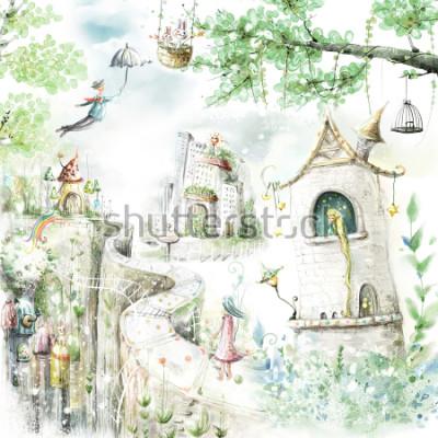 Sticker sentiers forestiers magiques et personnages de contes de fées