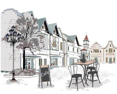 Sticker Série de cafés de rue dans la vieille ville