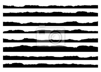 Sticker Série de coups de pinceau grunge. Peindre les bords, les bordures d'encre. Pinceau noir, motifs de fond dessinés à la main. modèle de conception de vecteur.