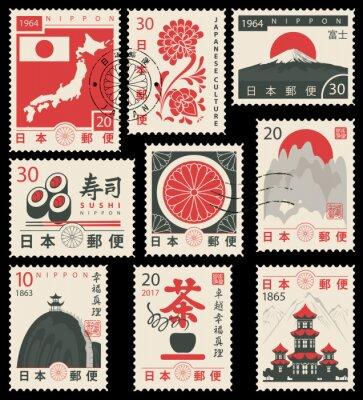 Sticker Série de timbres de vecteur sur le thème de la culture japonaise dans un style rétro. Hiéroglyphe Japan Post, Sushi, Thé, Perfection, Bonheur, Vérité