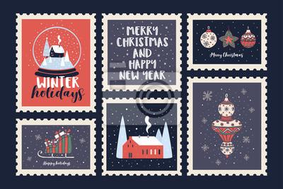 Sticker Série de timbres-poste dédiés aux vacances de Noël et au nouvel an. Compositions décoratives de vacances et symboles de Noël. Illustration vectorielle saisonniers de fête.