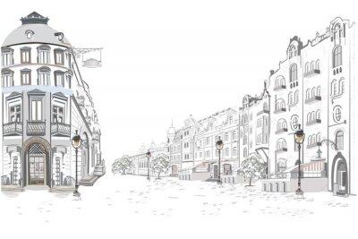 Sticker Série de vues sur la rue dans la vieille ville. Fond architectural vecteur dessiné main avec des bâtiments historiques.
